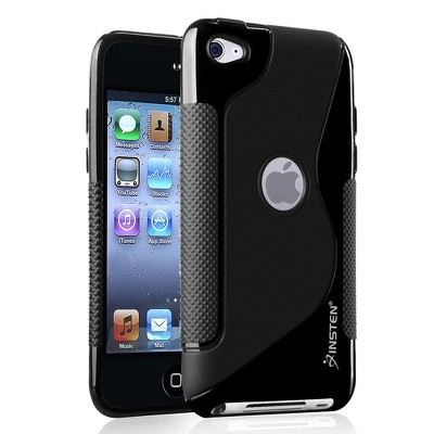 INSTEN TPU Rubber Skin Case compatible with Apple iPod touch 4th Generation, Frost Black S Shape