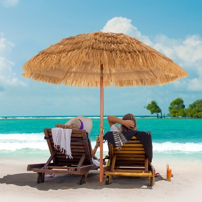 Costway 6.5 FT Thatched Beach Umbrella Tilt Tiki Hawaiian Patio Portable
