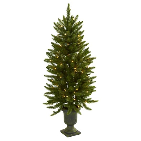 Slim Christmas Trees.4ft Slim Christmas Tree With Urn Clear Lights Nearly Natural