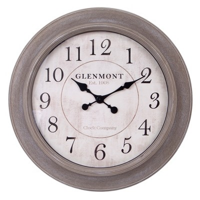 30  Weathered Wood Embossed Wall Clock Brown - Patton Wall Decor