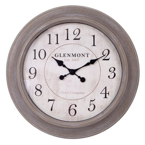 30 Weathered Wood Embossed Wall Clock Brown Patton Decor