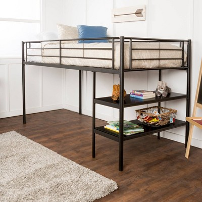 Twin Analise Metal Low Loft Bed with Desk and Storage - Saracina Home