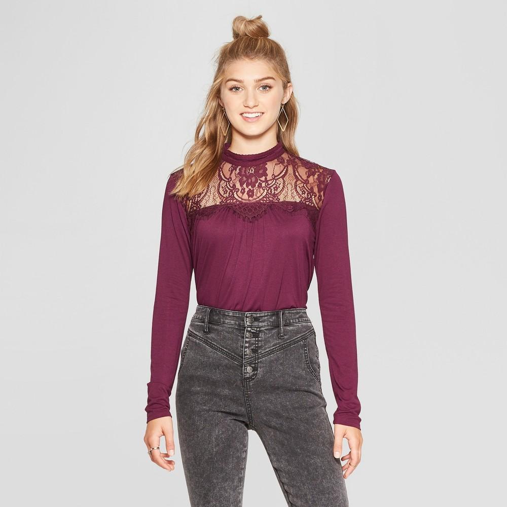 Women's Long Sleeve Lace Top High Neck Knit Top - Xhilaration Purple Xxl