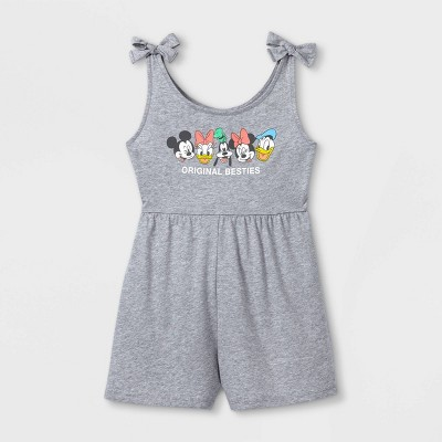 Girls' Disney Mickey & Friends Romper - Heather Gray