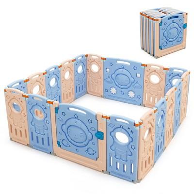 Babyjoy 18-Panel Foldable Baby Playpen Kids Activity Center w/ Lockable Door