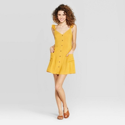 Women's Cap Sleeve Strappy Button Down Dress With Pockets   Xhilaration Yellow by Down Dress With Pockets