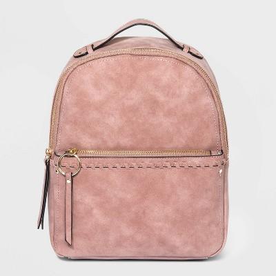VR NYC Zip Closure Whipstitch Shoulder Handbag - Mauve