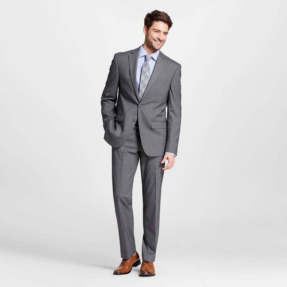 Men's Slim Fit Textured Suit Coat Gray 36S - City of London, Size: 36 Short