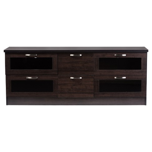 Adelino 63 Wood Tv Cabinet With 4 Glass Doors And 2 Drawers Dark