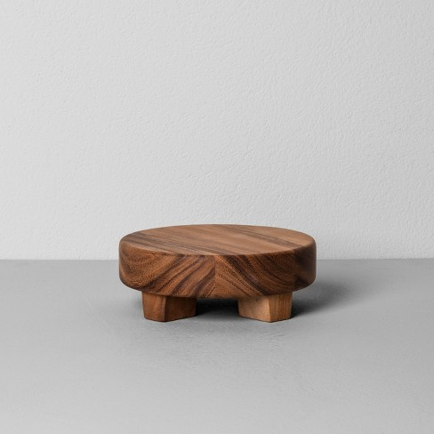Acacia Wood Round Footed Tray - Hearth & Hand™ with Magnolia - image 1 of 3