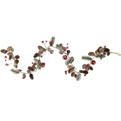 "Northlight 3' x .5"" Unlit Pine Cones and Berries Winter Foliage Christmas Twig Garland"