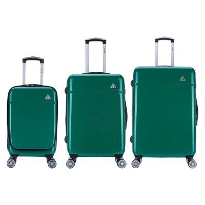 InUSA Avila 3pc Hardside Spinner Luggage Set 20 & 24 & 28  - Green