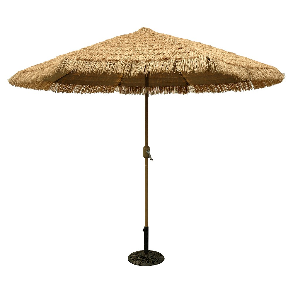 Image of 9' Round Crank Patio Umbrella - Thatch - Tropishade