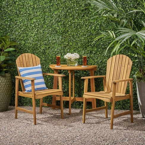 3pc oso acacia wood half round patio bistro table set natural christopher knight home