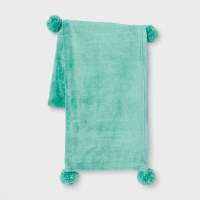 Solid Plush With Poms Throw Blanket Blue - Room Essentials™