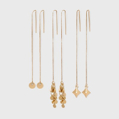 Gold Disc Chain Threader Trio Earring Set 3pc - Wild Fable™ Gold