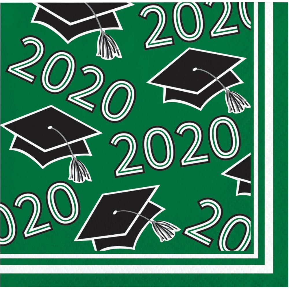 Image of 108ct Class Of 2020 Grad Beverage Napkins Green