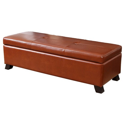 Cambridge Bonded Leather Storage Ottoman Bench Christopher Knight Home