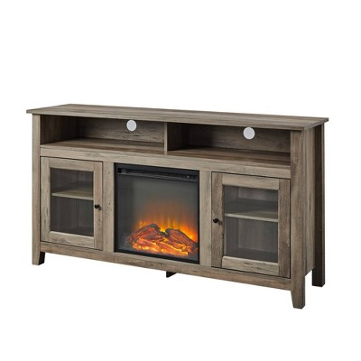 "Wood Highboy Fireplace Media Console TV Stand for TVs up to 65"" - Saracina Home"