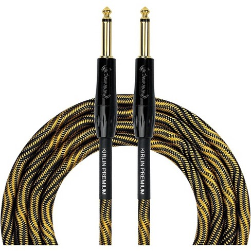 """KIRLIN IWB Black/Gold Woven Instrument Cable 1/4"""" Straight - image 1 of 3"""