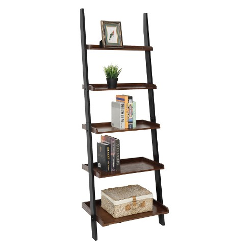 Johar Furniture 72 French Country Ladder Bookshelf Dark Walnut Black Target