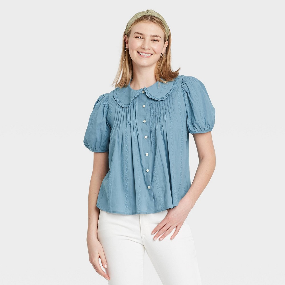 1900 -1910s Edwardian Fashion, Clothing & Costumes Womens Striped Puff Short Sleeve Button-Down Shirt - Universal Thread Blue XXL $22.99 AT vintagedancer.com