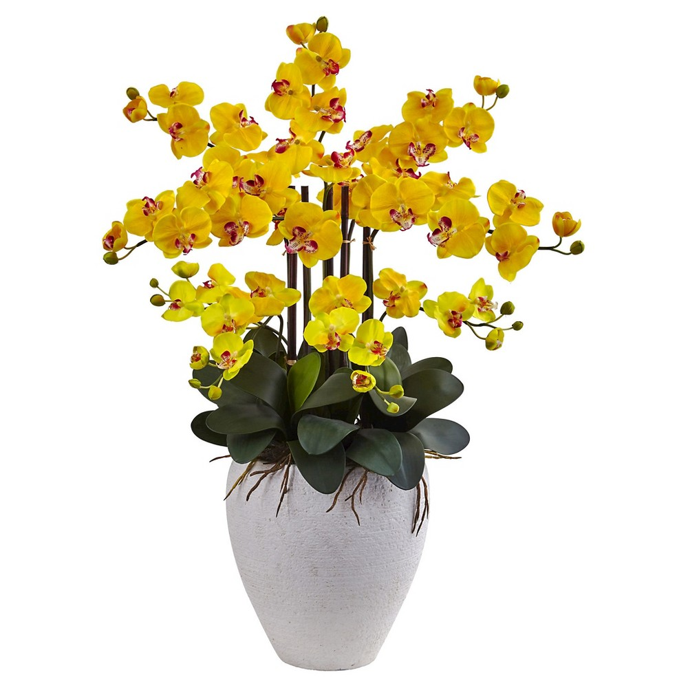 Phalaenopsis Orchid Silk Arrangement with White Planter - Nearly Natural, Yellow