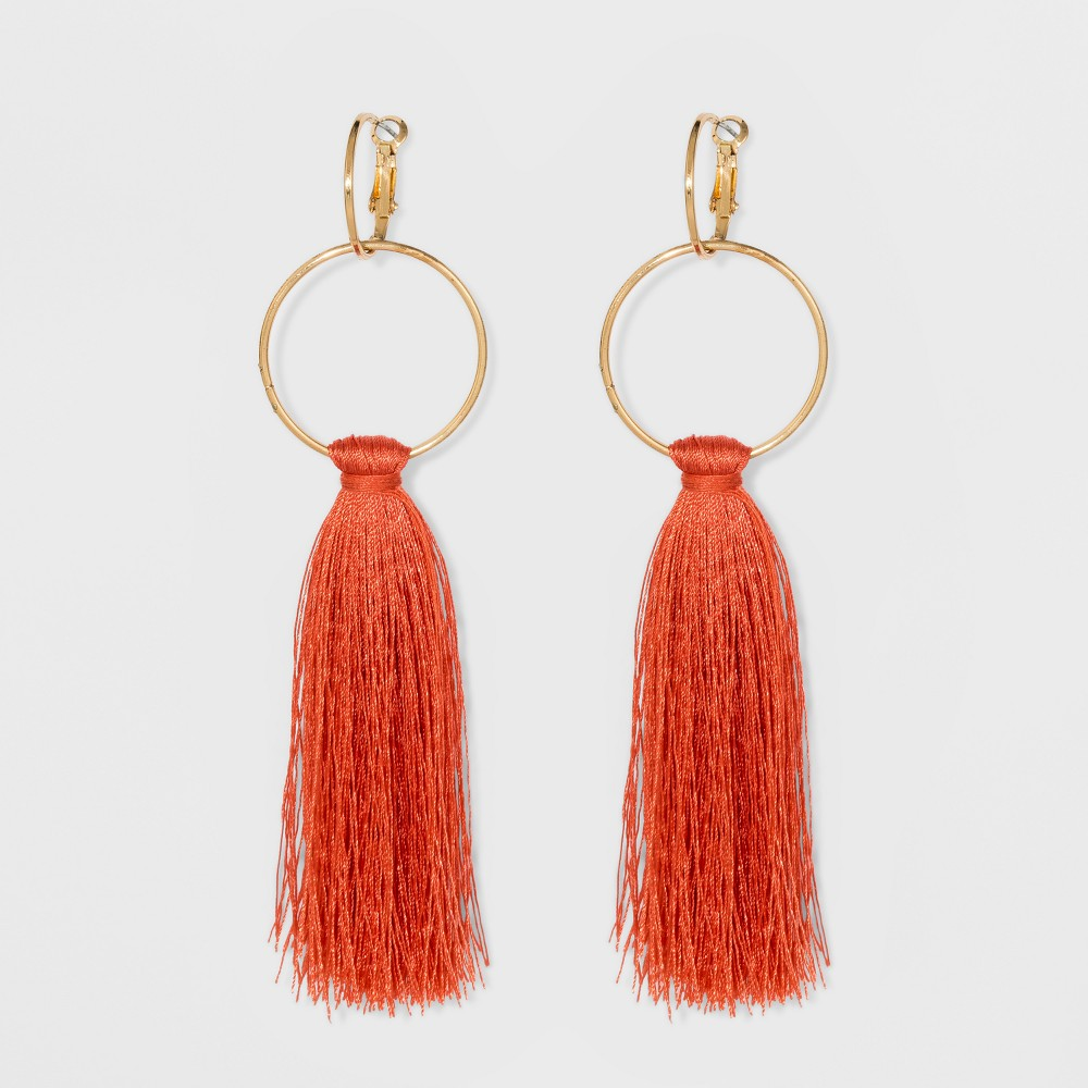 Round Links and Fabric Tassel Earrings - A New Day Red
