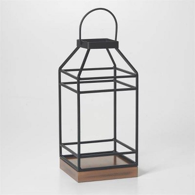 "12"" Hanbury Metal Outdoor Lantern with No Glass Black- Smart Living"