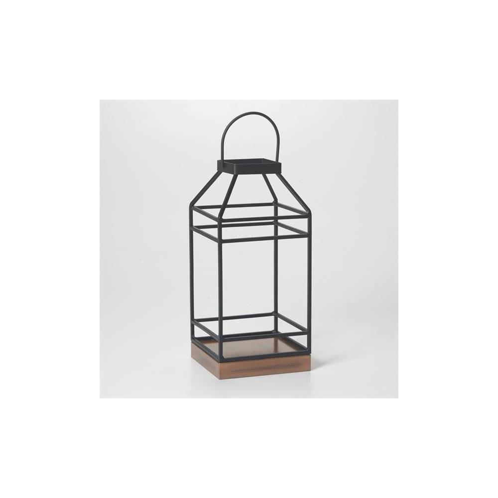 "Image of ""12"""" Hanbury Metal Outdoor Lantern with No Glass Black- Smart Living"""