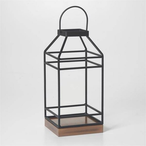 12 Hanbury Metal Outdoor Lantern With No Glass Black Smart Living Target