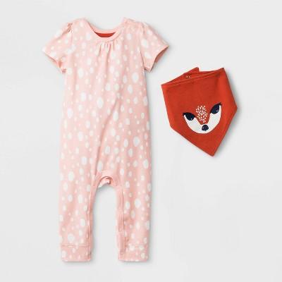 Baby Girls' Baby Girls' Short Sleeve Romper with Bib - Cat & Jack™ Peach 3-6M