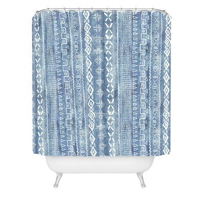 Schatzi Modern Mudcloth Light Shower Curtain Blue - Deny Designs