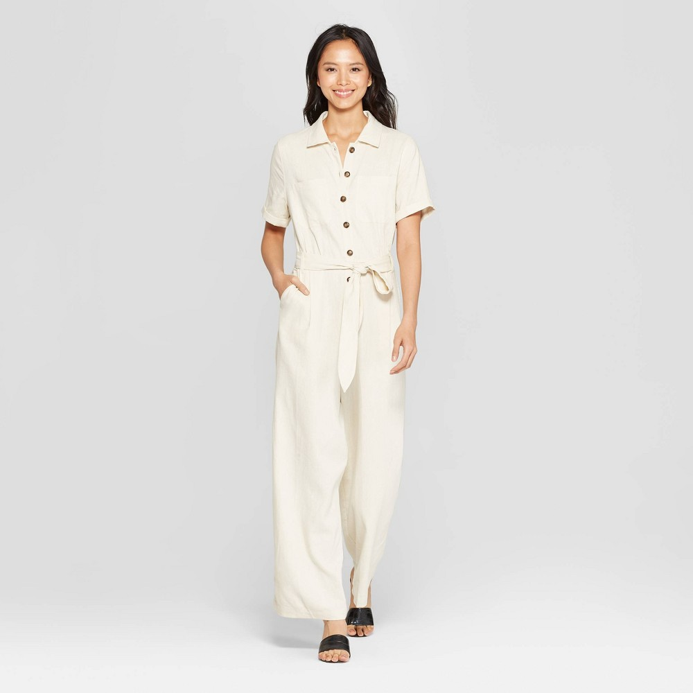 Women's Short Sleeve Button-Down Belted Utility Jumpsuit - Who What Wear Cream L, Brown