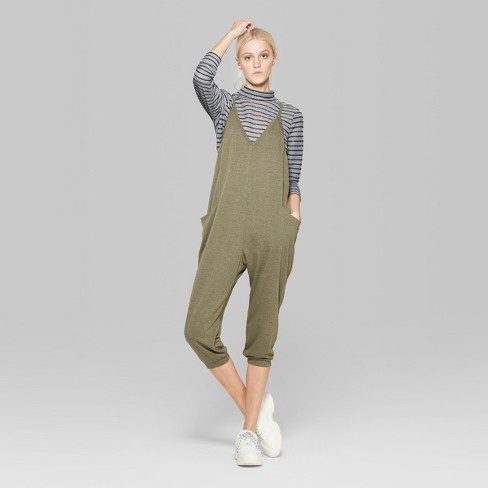 0a04d58690eb Women s Strappy V-Neck Cropped Knit Jumpsuit - Wild Fable™ Olive XXL    Target