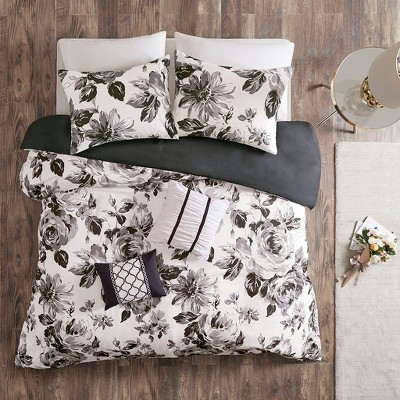 Full/Queen 5pc Hannah Floral Duvet Cover Set Black/White