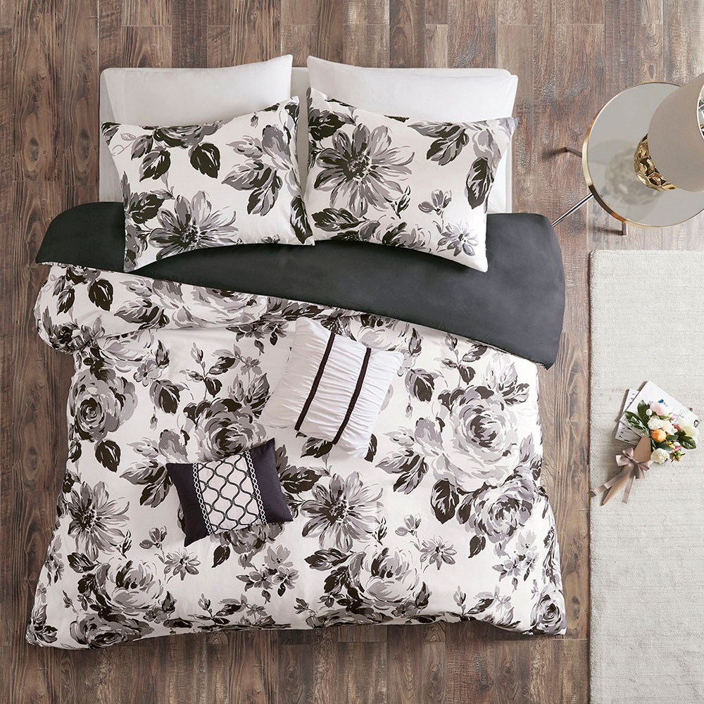 Twin/Twin XL 4pc Hannah Floral Duvet Cover Set - Black/White Top