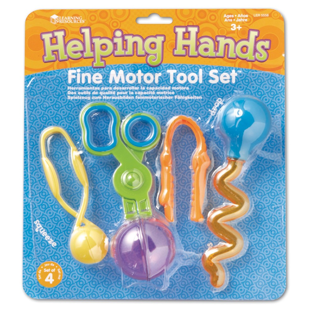Learning Resources Helping Hands Fine Motor Tool Set Twist, scoop, squeeze, and build little hand muscles with 4 of our finest tools! Help children develop fine-motor and pre-scissor skills. Includes 1 of each tool: Gator Grabber Tweezers, Handy Scoopers, Twisty Droppers, and Squeezy Tweezers. Largest tool measures 6″L. Ages 3+. Set of 4. Gender: Unisex.