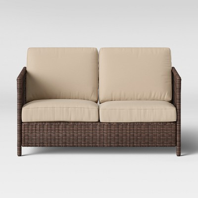 Monroe Wicker Motion Patio Loveseat - Tan - Threshold™