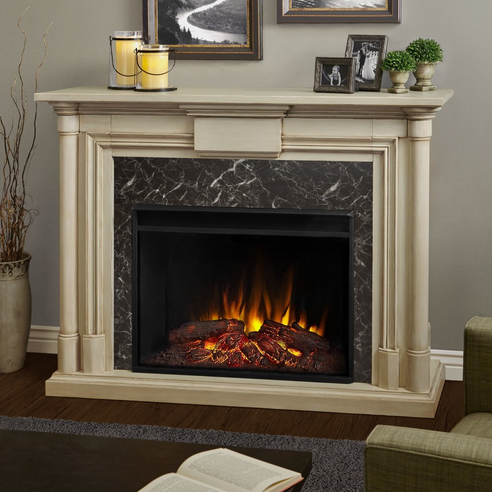 Real Flame - Maxwell Decorative Fireplace-Whitewash, White