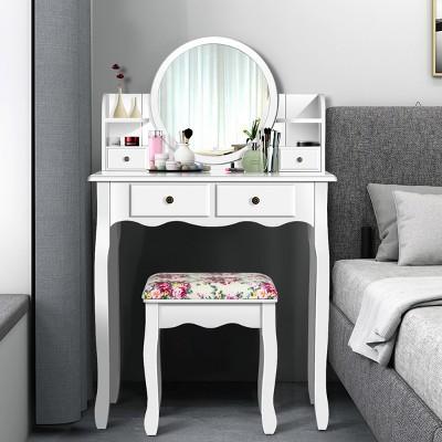 Costway Makeup Vanity Table Drawers Oval Dressing Table Kids Gift
