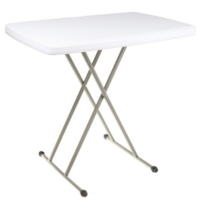 """Hastings Home 30"""" Adjustable Folding Utility Table and TV Tray - White/Gray"""