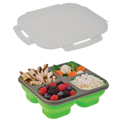SmartPlanet Portion Perfect 4 Compartment Collapsible Green Lunch Lite Kit