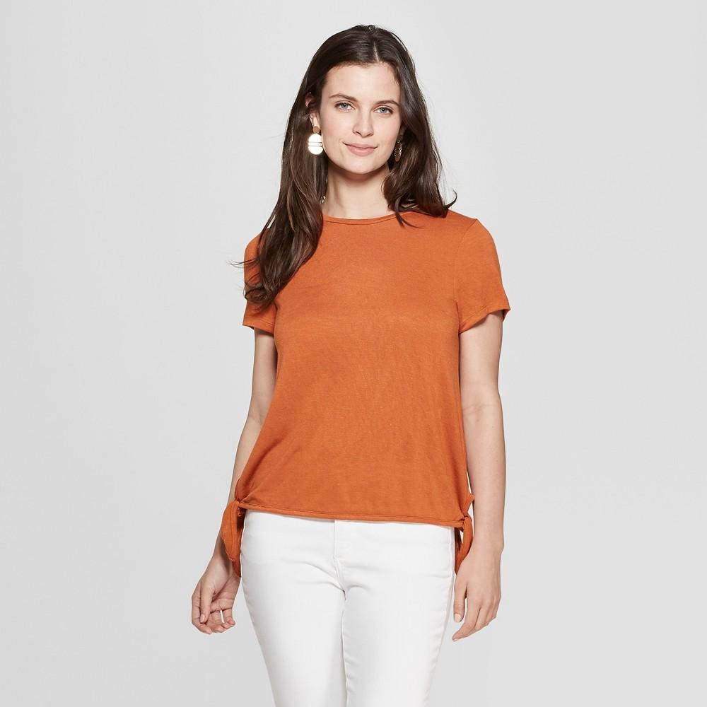 Women's Short Sleeve Side Tie T-Shirt - Universal Thread Orange L