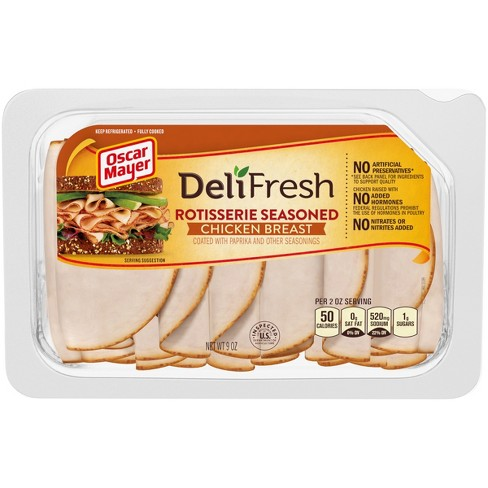 Oscar Mayer Deli Fresh Sliced Rotisserie Seasoned Chicken Breast - 9oz - image 1 of 3