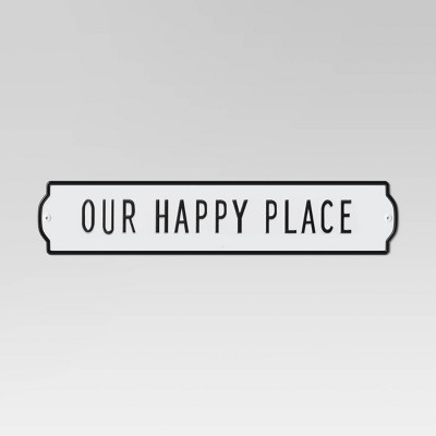 Our Happy Place  Enameled Metal Wall Sign White - Threshold™
