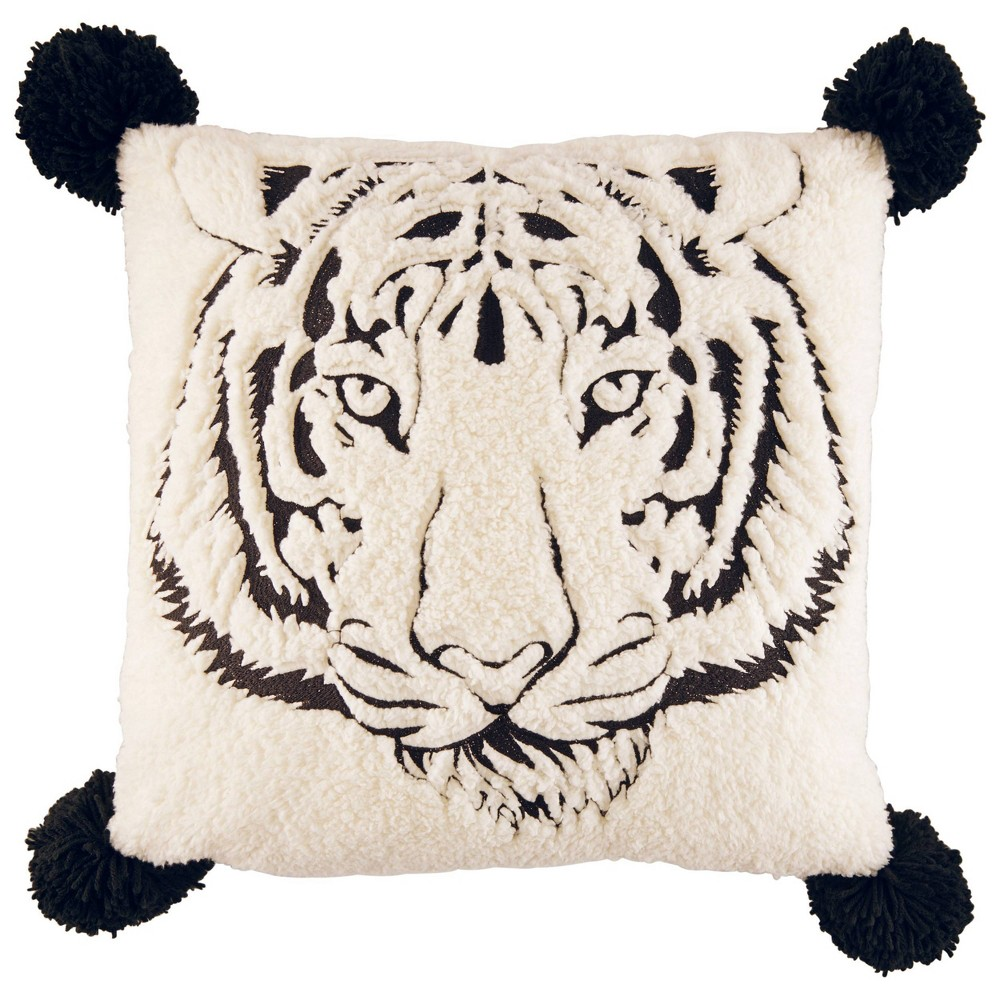 "Image of ""Betseyville 20"""" X 20"""" Betseys Tiger Throw Pillow Raven Black"""