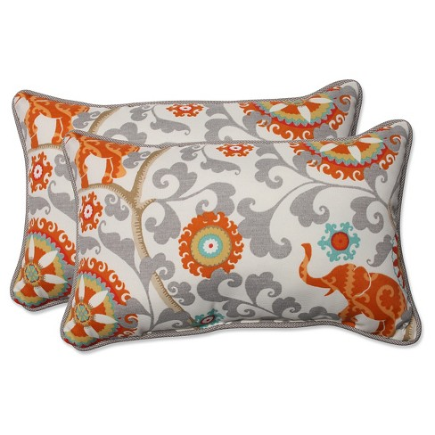 Pillow Perfect Menagerie Cayenne Outdoor Throw Pillow Set Gray