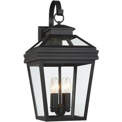 """John Timberland Traditional Outdoor Wall Light Fixture Textured Black Lantern 22"""" Clear Glass for Exterior House Porch Patio Deck"""