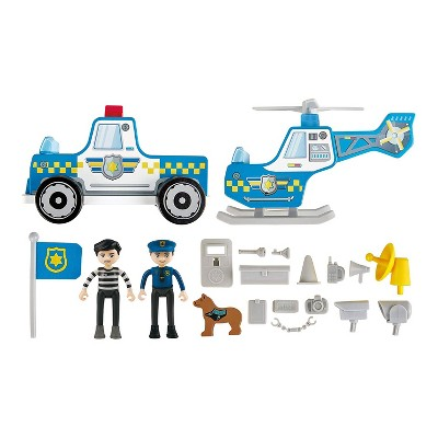 Hape E3050 Metro Police Station Play Toy Set with Helicopter, Landing Pad, Police Car, Police Officer, Prisoner Action Figure, and More Accessories